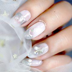 裸色方圆形贝壳片海洋风纯白优雅魔镜粉美甲美甲图片