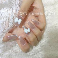 裸色方圆形夏天新娘简约手绘法式灰色蝴蝶结美甲图片