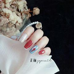 银色酒红色蓝色方圆形简约晕染贝壳片美甲图片