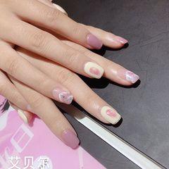 方圆形夏天跳色紫色美甲图片