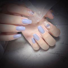 方圆形夏天灰色钻珍珠美甲图片