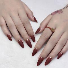 红色尖形磨砂简约新娘魔镜粉法式美甲图片