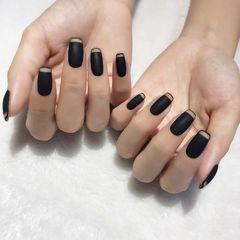 方形磨砂简约黑色法式美甲图片