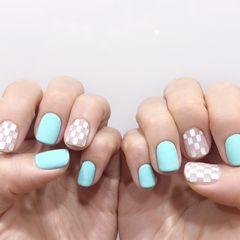 蓝色方形夏天格纹清凉夏日美甲图片