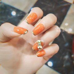 橙色方圆形简约薄荷美甲·美睫美甲图片