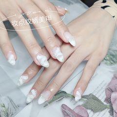 夏天新娘白色法式美甲图片