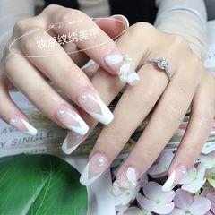 方形夏天新娘白色法式美甲图片