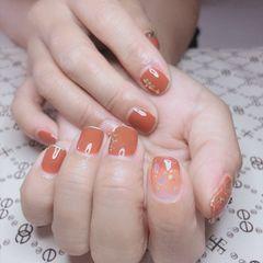橙色方圆形渐变很显白很贵气的感🦶美甲图片