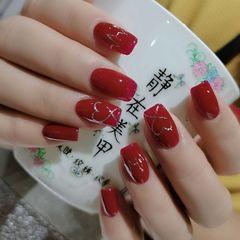 红色方圆形简约手绘新娘延长 红色 最爱美甲图片