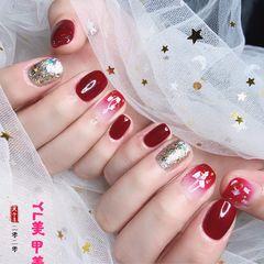酒红色方圆形新娘简约金箔短指甲美甲图片