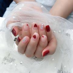 酒红色方圆形新娘情人节红色爱心美甲图片