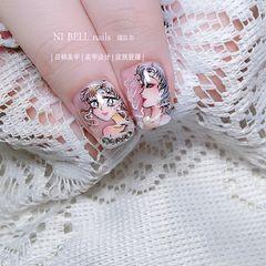 裸色方圆形新娘紫色粉色美甲图片