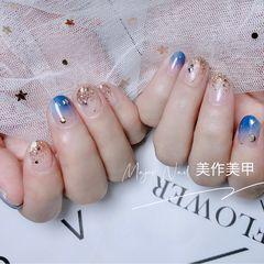 蓝色圆形夏天短指甲渐变美甲图片
