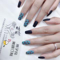 方形豹纹黑色磨砂欧美风美甲图片