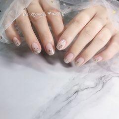 银色方圆形新娘简约美甲图片