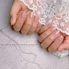 裸色圆形夏天上班族新娘简约渐变晕染日式极致裸色|上班族完美款美甲图片