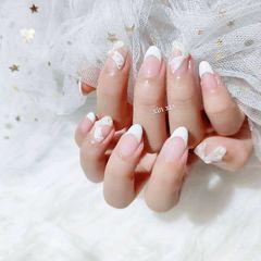 白色圆形新娘法式芭蕾舞鞋美甲图片