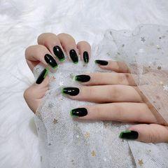 黑色绿色异形美甲图片