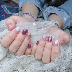 方圆形贝壳片水波纹紫色美甲图片