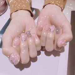 银色裸色方形简约跳色短指甲魔镜粉美甲图片