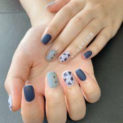 蓝色方圆形磨砂豹纹美甲图片