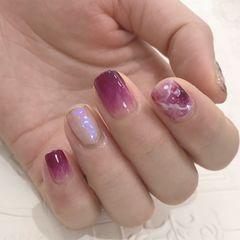 葡萄紫➕极光粉➕晕染美甲图片