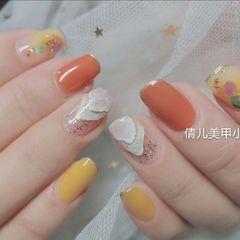 橙色黄色方圆形简约晕染贝壳片美甲图片
