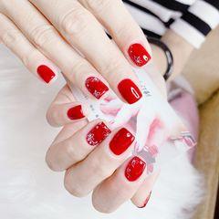红色方形夏天简约新娘上班族短指甲花朵美甲图片