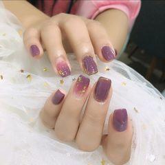 方形金箔渐变紫色美甲图片