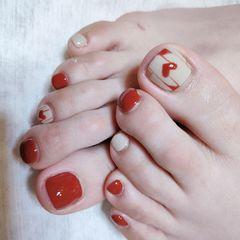 红色裸色跳色脚简约可爱秋天焦糖色上班族美甲图片