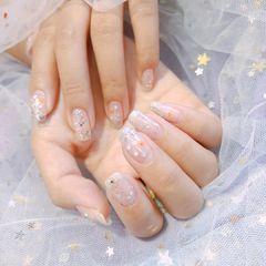 裸色方圆形夏天短指甲简约渐变美甲图片