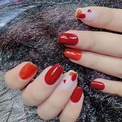 红色橙色方圆形跳色简约新娘美甲图片