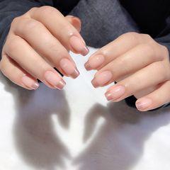 裸色方圆形短指甲上班族简约法式魔镜粉美甲图片
