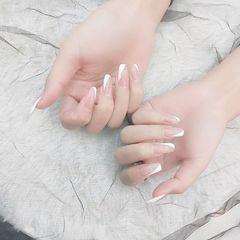 裸色方形夏天简约格纹美甲图片