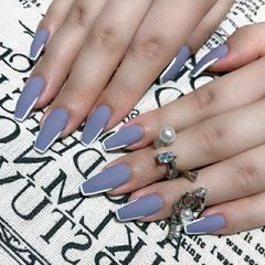 蓝色方形磨砂美甲图片