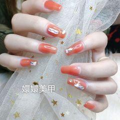 橙色方圆形新娘美甲图片