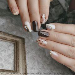 方圆形跳色晕染日式珍珠豹纹白色手绘黑巧慕斯美甲图片