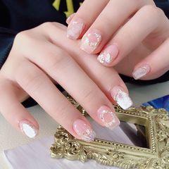 银色方圆形新娘小清新珍珠圣诞🎄美甲图片