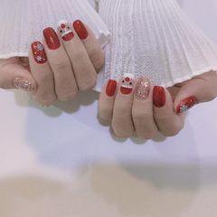 红色简约可爱手绘日式美甲图片