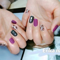 豹纹紫色磨砂美甲图片