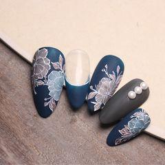 蓝色尖形花朵美甲图片