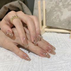 裸色方形夏天简约新娘上班族显白钻美甲图片