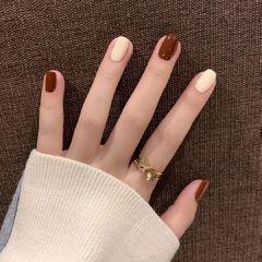 圆形秋冬超适合秋冬的纯色显白搭配美甲图片