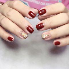 红色方圆形短指甲简约圣诞法式魔镜粉美甲图片