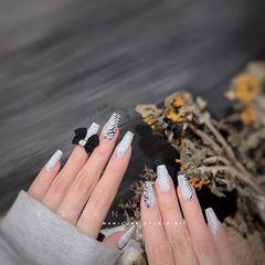 方圆形磨砂简约豹纹灰色美甲图片