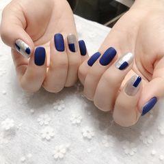 蓝色磨砂撞色美甲图片