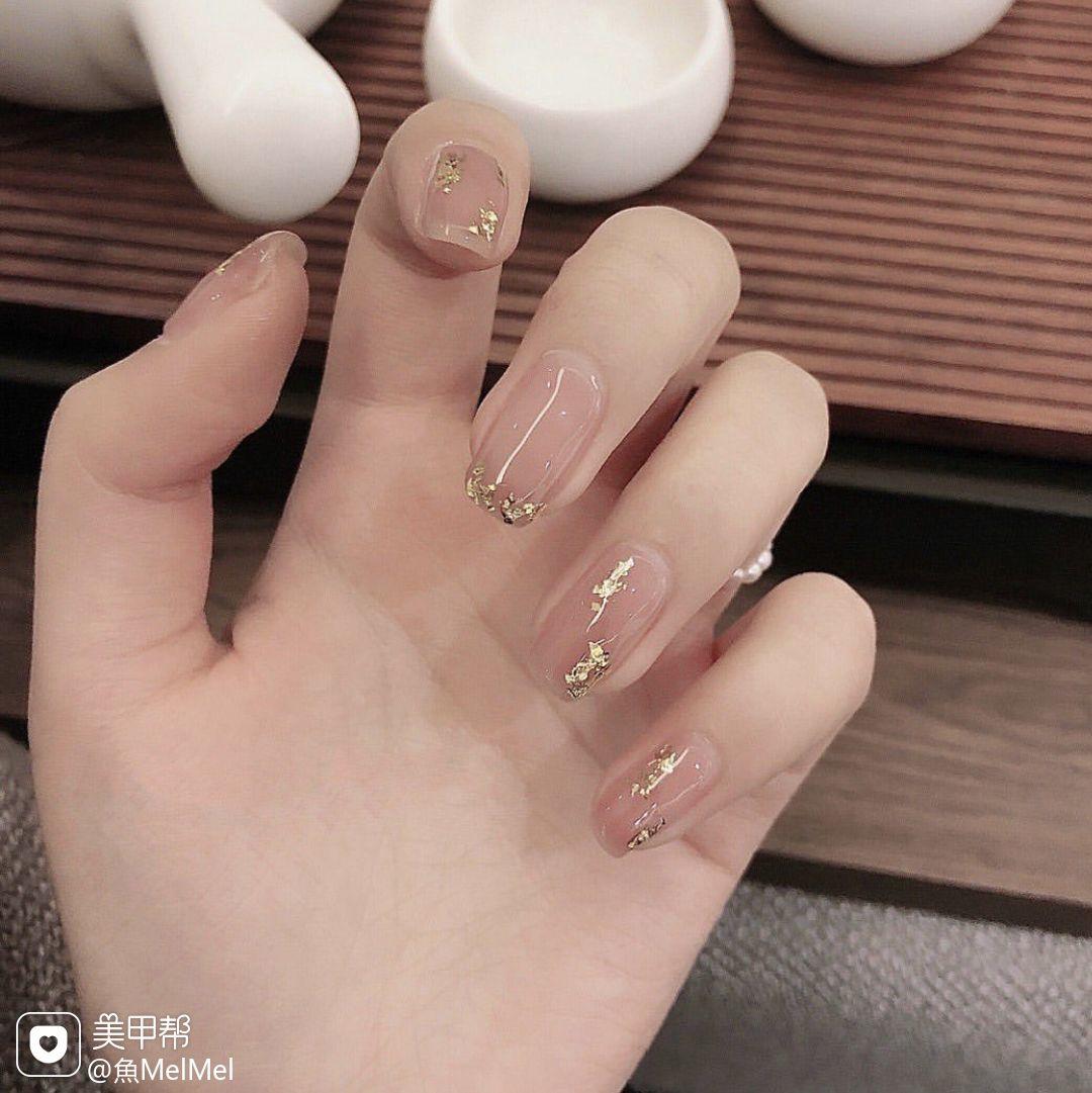裸色方圆形金箔简约粉色韩式法式美甲图片