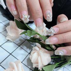 银色方圆形夏天新娘上班族简约渐变美甲图片