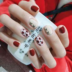 红色方圆形短指甲简约手绘豹纹漂亮美甲图片