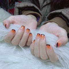 橙色方圆形渐变法式美甲图片